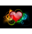 red heart on the dark background vector image vector image