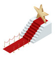 isometric red event carpet isolated on a white vector image