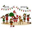 santa claus with elves and deer christmas card vector image