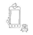 sketch of the smartphone and viruses vector image