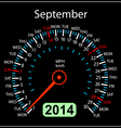 2014 year calendar speedometer car in September vector image