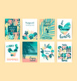 Set of summer tropical designs templates vector image