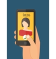 Hand holding mobile calling girlfriend Mobile vector image