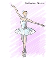 Cute Ballet dancer girl sketch style Old hand vector image