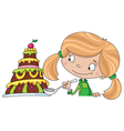 girl and cake vector image