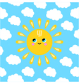 a smiling sun in the clouds vector image