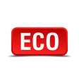 Eco red 3d square button isolated on white vector image