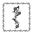 floral frame black ornament vector image