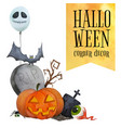 halloween corner decor for cards and posters vector image