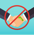 handshake with money bills and red prohibition vector image