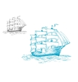 Schooner under full sail on the ocean vector image
