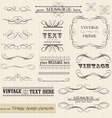 Vintage set calligraphic design elements and page vector image