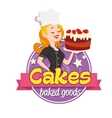 Vintage logo Smiling woman in a cook cap with vector image