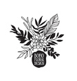 Boho black decorative plants and flowers vector image vector image
