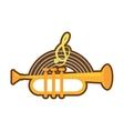 cartoon trumpet instrument music wind vector image