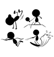 Black colors of people playing different sports vector image vector image