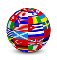 3d sphere with world flags vector image vector image
