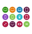 Screens circle icons on white background vector image
