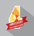 4th Years Anniversary Celebration Design vector image