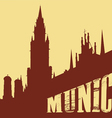 Contour of the building of the city of Munich on a vector image