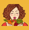 beautiful red-haired lady with vegetables in his vector image