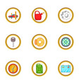 car service icons set cartoon style vector image
