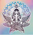 hand drawn romantic six winged magic angel girl vector image