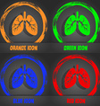Lungs icon Fashionable modern style In the orange vector image