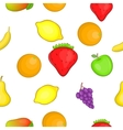 Orchard fruits pattern cartoon style vector image