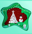 paper art depth concept of christmas with snowman vector image