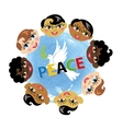 Peace dayChildren facespigeonwatercolor blue vector image