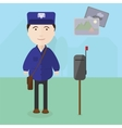 Postman at work near the mailbox vector image