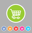 shopping cart icon flat web sign symbol logo label vector image