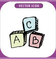toy cube icon abc hand drawn vector image