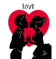 valentines day card lovers kiss love vector image