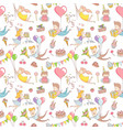 happy birthday party greeting seamless pattern vector image
