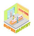 supermarket meat department isometric vector image