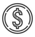 coin dollar line icon business and finance money vector image