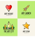 Set of art concept icons vector image vector image