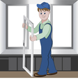Worker installs or repairs plastic window vector image