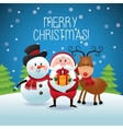 Merry Christmas concept with snowman deer and vector image