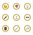 corsair adventure icons set cartoon style vector image