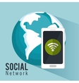 global social metwork smartphone internet vector image
