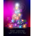 Merry christmas new year bokeh light blur pinetree vector image