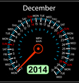 2014 year calendar speedometer car in December vector image vector image