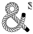 black rope ampersand symbol vector image