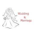 Bride silhouette for marriage and wedding vector image