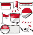 Glossy icons with Indonesian flag vector image