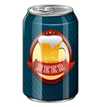 Fresh beer in blue can vector image