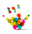 Human hand with colorful splashes art creation vector image